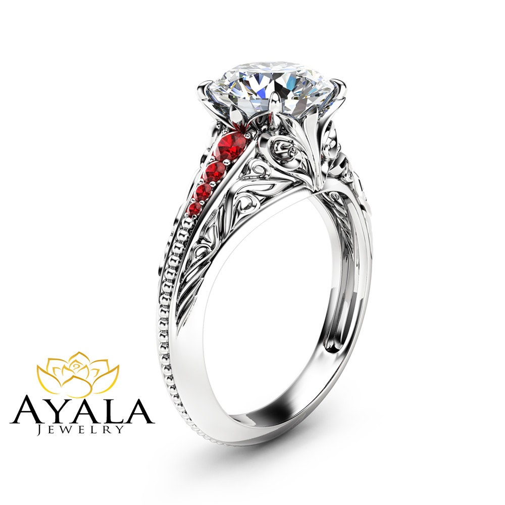 unique moissanite engagement ring unique 14k white gold ring
