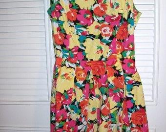 Vintage  Floral  Cotton Sundress Flirty Summer Cooler Size 12