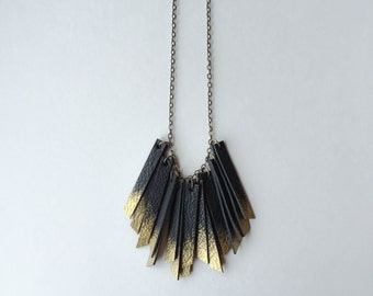 Recycled Leather Ombre Bunch Necklace