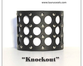 Womens Wristband | Statement Bracelet | Black Leather Bracelet Cuff | Biker Gal Leather Cuff Bracelet | Leather Motorcycle Accessory