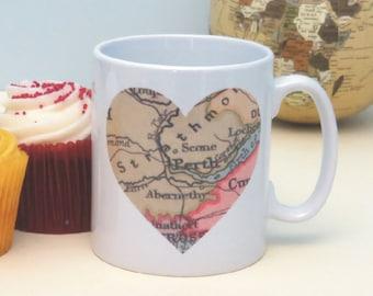 Personalised Vintage Map Location Mug - Great Birthday, Anniversary or Bon Voyage Gift - Valentine's Day Gift