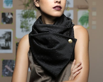 Black Scarf, Winter Scarf, Cowl, Women Scarves, Jersey lycra Scarf, avantgard scarf, Gift Idea for HerBlack Infinity Scarf, Circle Scarf