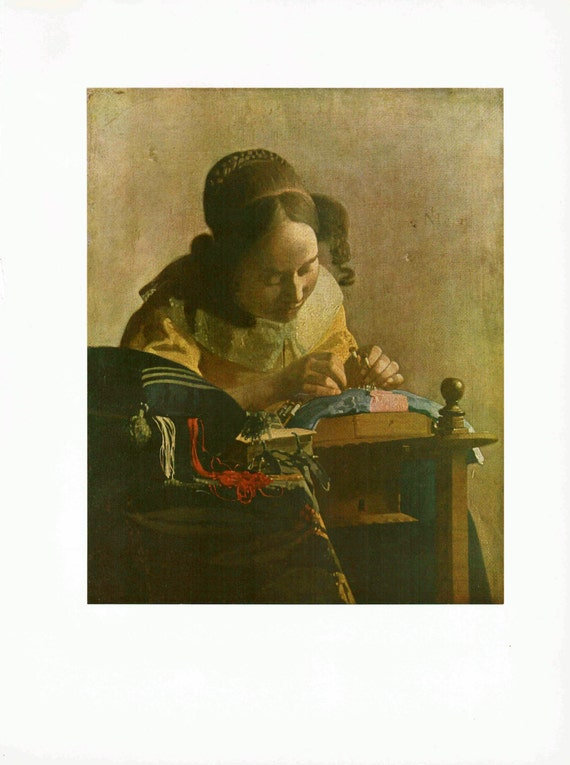 Print of painting by Jan Vermeer, The Lacemaker, woman making lace item, beautifully executed and detailed, 1954 print
