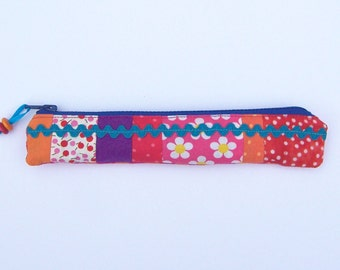 Pencil case, zipper, stationery case, accessory case, slim zipped pouch, gift for her