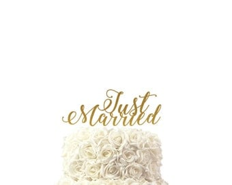 Wedding cake topper, Just Married ,cake topper, 30 colors available, custom made cake topper