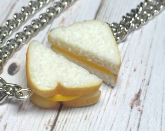 Cheese Sandwich best friend necklace, miniature food jewelry, best friend necklaces, polymer clay food, best friend food, sandwich pendant