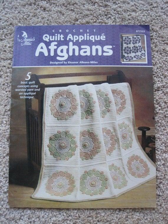Book Cover Crochet Quilt Pattern ~ Crochet pattern book quilt applique afghans annies
