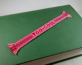 Valentine Conversation Heart bookmark - Too Cool -  handwoven inkle band, message, handwoven lettering, Pink, Red