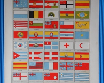 1900 FLAGS of the World, Beautiful Colors Lithograph XIX Century... 115 years old nice print!