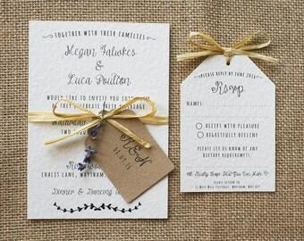 Rustic, Vintage, Lavender and Raffia Invitation Set