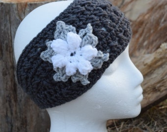 Headband - charcoal gray with white flower