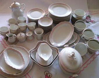 Rare German porcelain Hutschenreuther coffee and dining crockery 12 people rare vintage fine tableware wedding dinnerware wedding gift