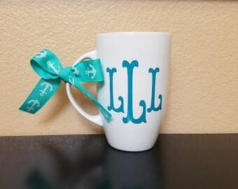 Monogrammed Coffee Mug - Monogrammed Coffee Cup - Personalized Coffee Cup - Monogrammed Gift - Bridesmaid Gift - Monogram Mug - Coffee Cup