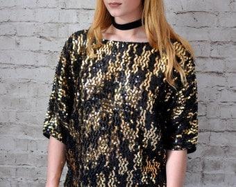 Retro 80s Vintage Black and Gold Sequin Embellished Blouse