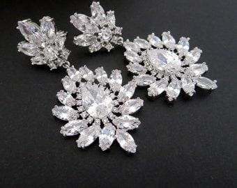 Bridal earrings, Crystal Wedding earrings, Chandelier earrings, Wedding jewelry, CZ earrings, Statement earrings, Rhinestone earrings