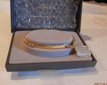 "Vintage NOS Speidel Gold Tone I.D.  Bracelet Dainty Engraveable Gift 7"" Long Made In The U.S.A."