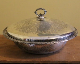 Vintage Oneida Ornate Silver Dish with Lid