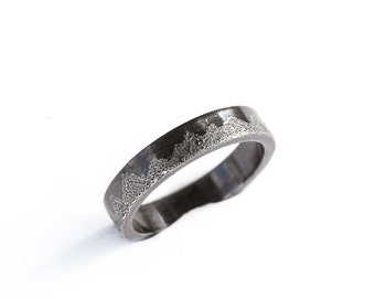 Sterling silver men's mountain wedding ring, men's nature wedding ring