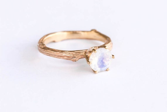 14k gold and moonstone twig engagement ring, wedding rustic twig ring