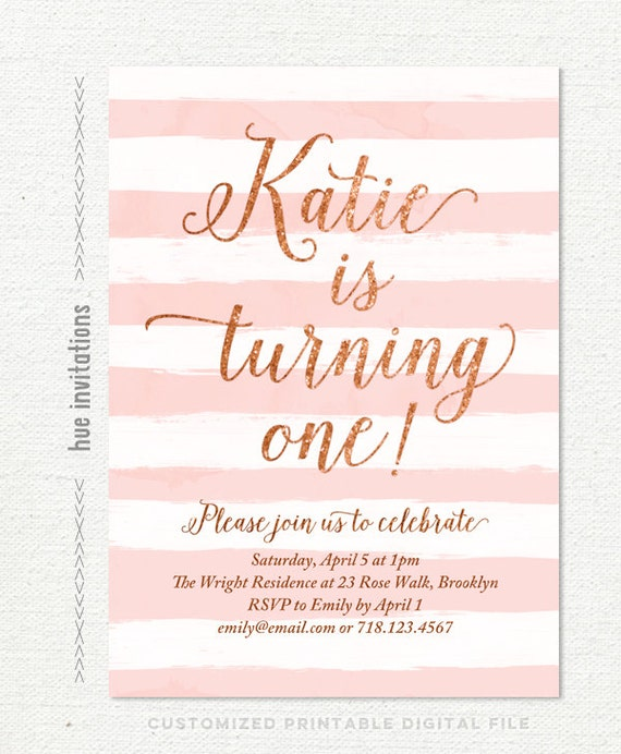 rose gold 1st birthday party invitations for girls blush pink