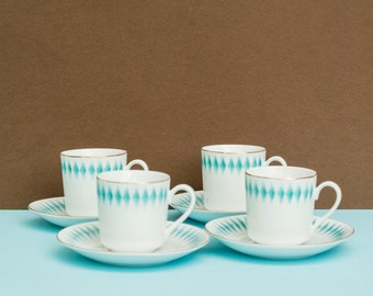 Set of 4 vintage white and turquoise porcelain demitasse coffee cups and saucers