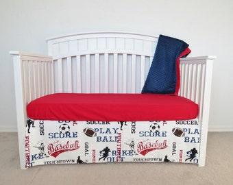 3 Piece Crib Set - Sports, football, baseball,soccer, red navy, blue