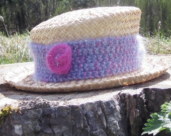 Ladies blue and pink hat band with pink rose, Ladies blue and pink hat, Blue and pink hat band, Pink rose hat band, Blue hat Pink hat 228