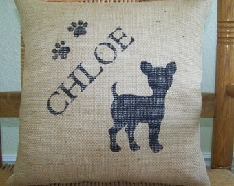 Chihuahua pillow, personalized dog pillow, puppy pillow, pet pillow, dog silhouette pillow, burlap Pillow, stenciled pillow, FREE SHIPPING!