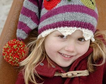 Hand knit children hat, monster hat, funny hat, Halloween hat, knitted children hat.