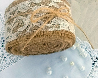 Rustic Burlap Ribbon - Burlap and Lace ribbon -  Wedding Ribbon - Wedding Decoration - Wedding Accessory - Choose color of Lace