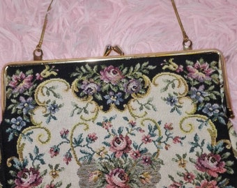Vintage wrist purse antique tapestry bag woman