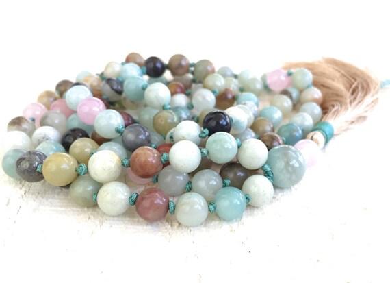 Amazonite Rose Quartz Mala Beads, Knotted Mala, Gemstone Mala, Meditation Necklace, Yoga Beads, Rose Quartz Mala, Prayer Beads