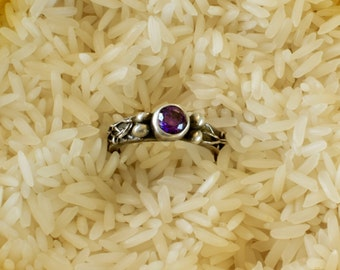 Delicate Fine Silver Ring with Purple Cubic Zirconia and Four Silver Balls | Precious Metal Clay