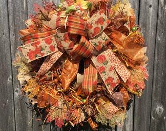 Deco Mesh Thanksgiving Wreath / Fall Wreath / Pumpkin Wreath / Fall Deco Mesh Wreath /  Thanksgiving Mesh Wreath / Fall Door Decor
