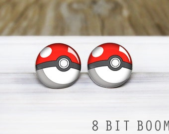 Pokeball Stud Earrings - Pokemon Earrings - Hypoallergenic Earrings for Sensitive Ears