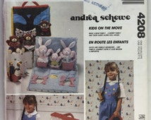 McCall's Crafts 4208 Doll Carry House with Bunny or Bear Family with clothes uncut
