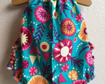 SALE! Sierra Flowers Ruffled Baby Girl Romper. Baby Girl Romper. Baby Sun Suit. Baby Bubble Romper.