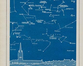 1950  Astronomy vintage print. Star map, nocturnal skyline in December