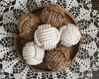 nautical rope knot set of 6 - monkey fist rope knots - rope knot balls - nautical bowl fillers - natural vase fillers - nautical knots