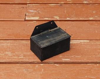 Little  Match Safe, Rustic Metal Match Holder, Tin Match Box, Black Painted Match Holder