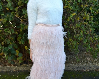 Ostrich feather skirt in multiple lengths - Ready-to-Wear 'Maxime' fashion separates. Choice of color. Alternative bride or costume party!