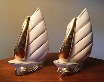 Pair of vintage ceramic pottery sailboat wall pockets