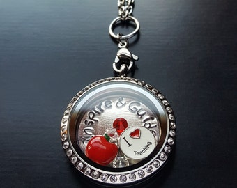 Teacher Themed Floating Charm Locket Necklace-Includes Large Stainless Steel Locket, Hand-Stamped Window Plate, Charms & Chain-Gift Idea