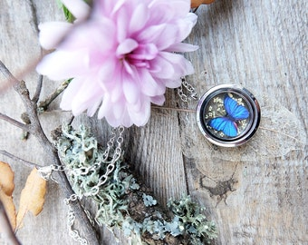 Blue butterfly necklace, locket necklace, terrarium necklace,gift for woman, dried flower charm, glass butterfly terrarium,botanical jewelry