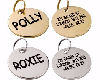 Dog Tag, Custom Dog Tag, Personalized Dog Name Tag, Brass or Silver Dog ID Tags
