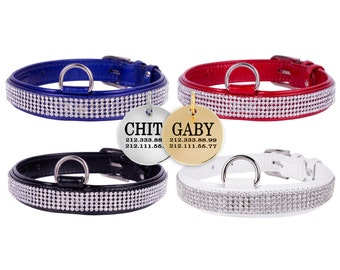 Dog Collar Leather Rhinestones FREE TAG Lacquered Puppy Cat Small Medium Large White Black Red Blue
