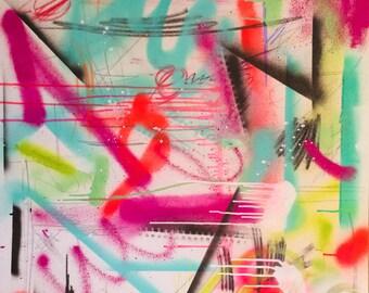 "Original Art Painting 30x30 canvas, large abstract painting ""PUMPED UP KICKS"""