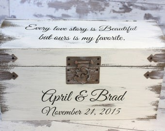 Wedding Card Box - Engraved With Bride And Groom's Names And Wedding Date With Quote, Personalized Wedding Decor - Rustic Wedding