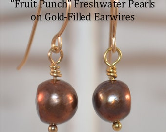 "Freshwater Pearl Earrings (dyed) ""Fruit Punch"", on hand-made Gold-Filled fish-hook Earwires"