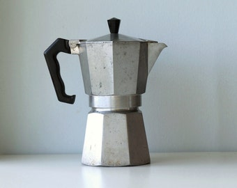 Italian coffee maker vintage 60s, Moka Express Bialetti 6 cups, coffee machine made of aluminium